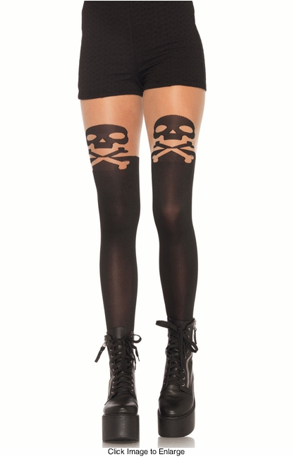 Skull Pantyhose with Sheer Top