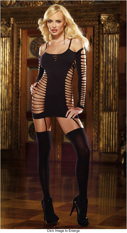 Slashed Dress with Attached Stockings