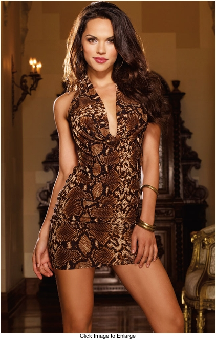 Snake Print Mini Dress with Strappy Back