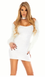 Snowball Sequin Dress with Fur Sleeves