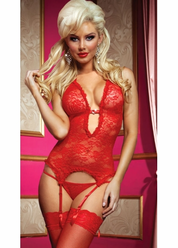 Some Like It Hot Red Lace Garter Cami with Thong