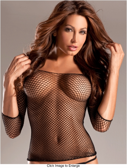 Spandex Fishnet Top with Long Sleeves