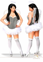 Sparkle Corset Angel Costume with Feather Wings, Petticoat and Halo