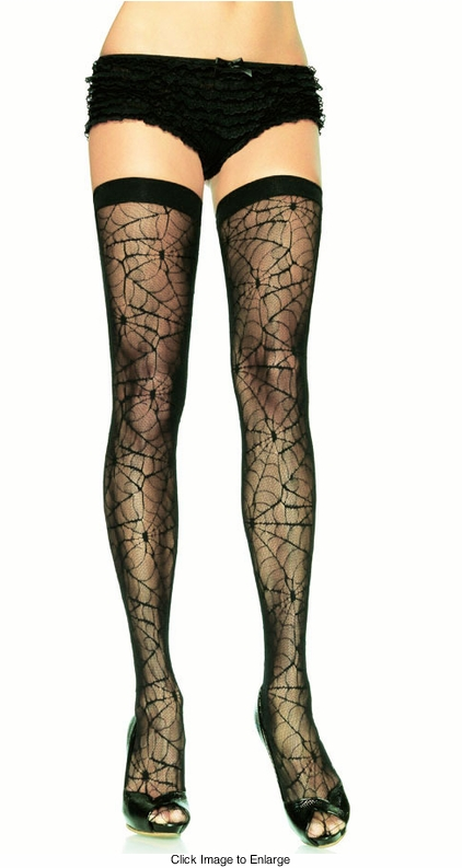 Spider Web Lace Stockings with Elastic Top
