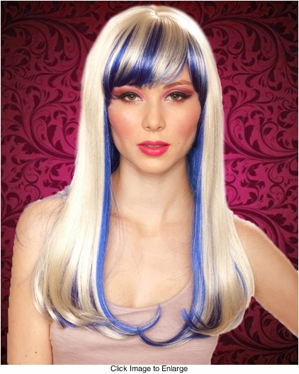 Straight Long Kelly Wig with Full Bangs in Blonde/Blue