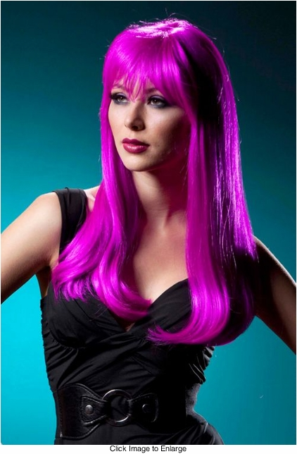 Straight Long Kelly Wig with Full Bangs in Magenta Pink