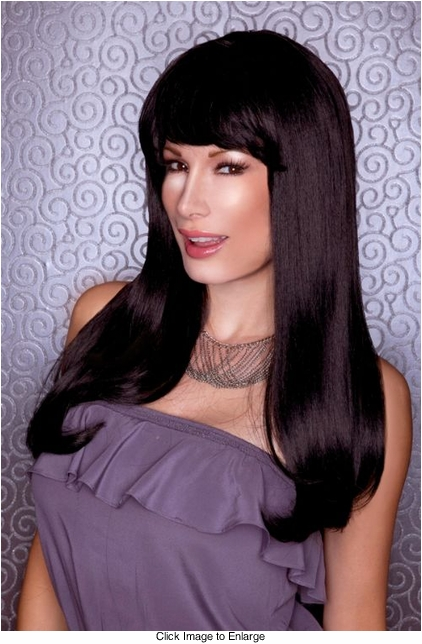 Straight Long KellyWig with Full Bangs in Onyx Black