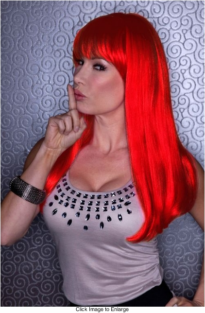 Straight Long Wig with Full Bangs in Red Ruby