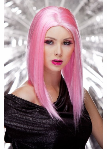 Straight Wig with Razored Edges in Cotton Candy Pink