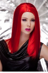Straight Wig with Razored Edges in Firecracker Red