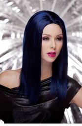 Straight Wig with Razored Edges in Midnight Blue