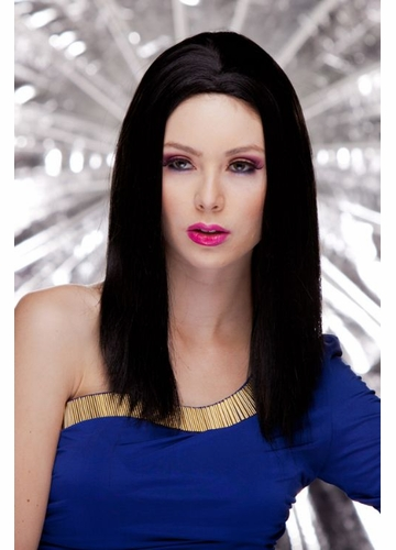 Straight Wig with Razored Edges in Onyx Black