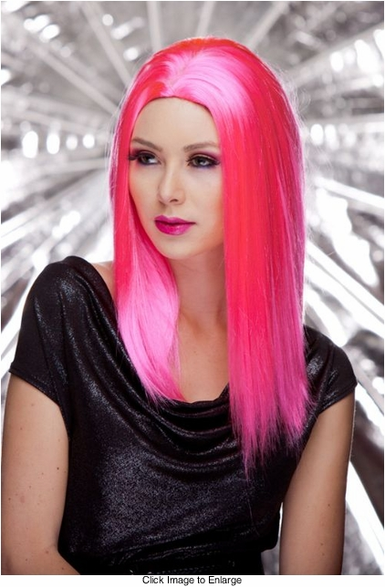 Straight Wig with Razored Edges in Pink Explosion