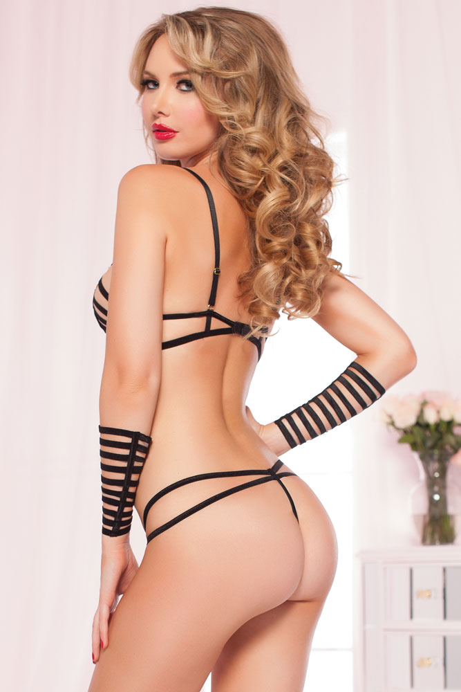Strappy Bra, Gloves and Thong