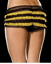Stretch Black Mesh with Yellow Ruffles Panty Plus Size