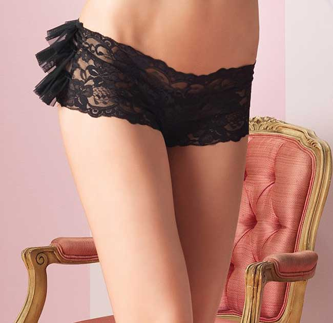Stretch Lace Shorts with Ruffle Back