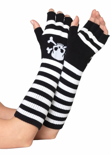 Stripe Skull Elbow Length Fingerless Gloves