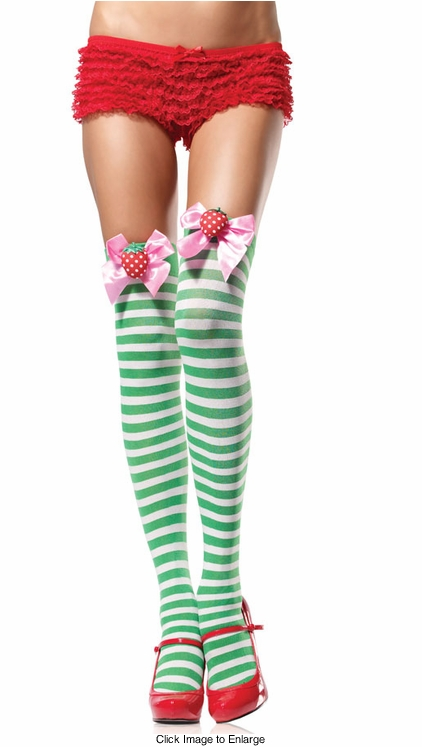 Stripe Thigh High Stockings With Strawberry Bow