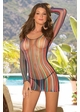 Striped Fishnet Long Sleeve Mini Dress inset 2