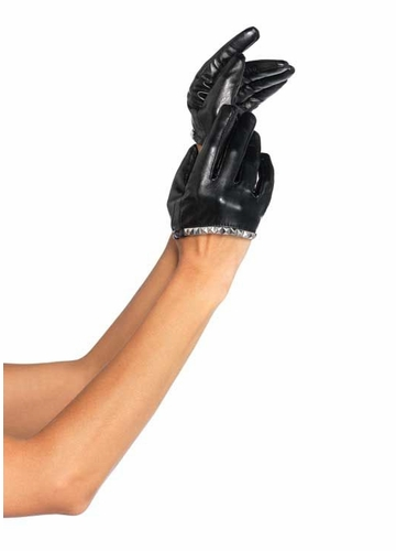 Studded Faux Lather Glovettes