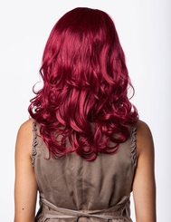 Sultry Shoulder Length Wig with Soft Curls in Burgundy