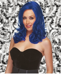 Sultry Shoulder Length Wig with Soft Curls in Dark Blue