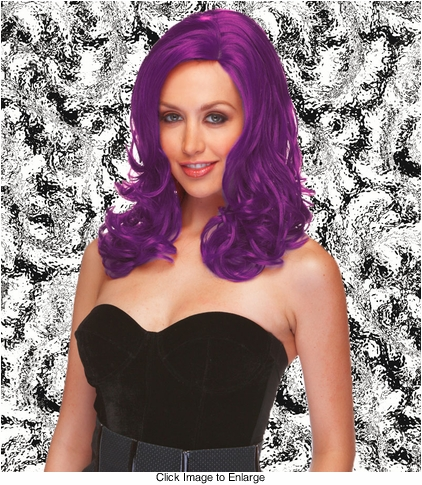 Sultry Shoulder Length Wig with Soft Curls in Purple