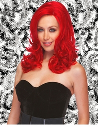 Sultry Shoulder Length Wig with Soft Curls in Red