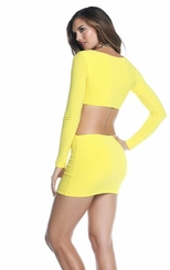 Sunny Yellow Mini Dress with Cutout Back
