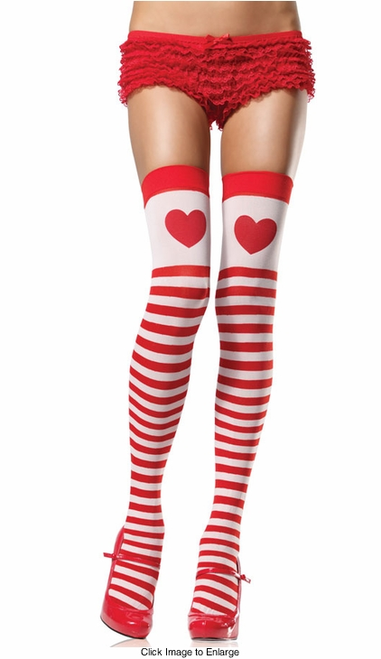 Sweetheart Stripe Thigh High Stockings