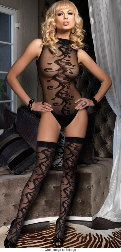 Swirl Nylon Bodysuit and Matching Stockings