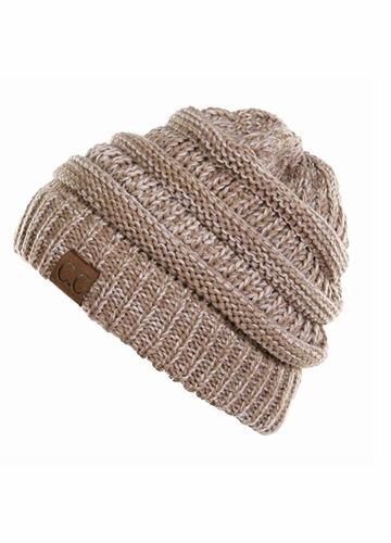 Taupe and Beige Two Tone CC Beanie Hat