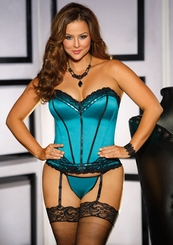Teal Green Sweetheart Corset with Lace