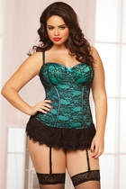 Teal Skirted Lace Corset and Thong