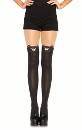 Teddy Bear Pantyhose with Sheer Thigh Accent