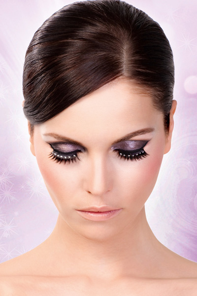 Textured False Lashes with Clear Crystals