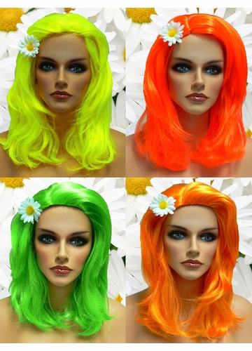 Textured Glamour Wig in Neon Colors