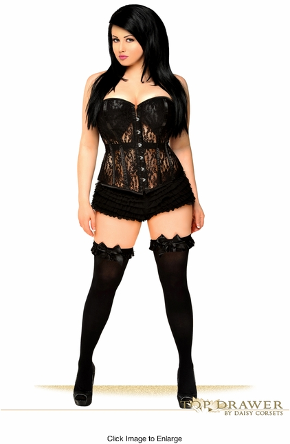 Top Drawer Black Lace Molded Cup Corset