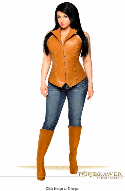 Top Drawer Steel Boned Faux Leather Collared Corset Top