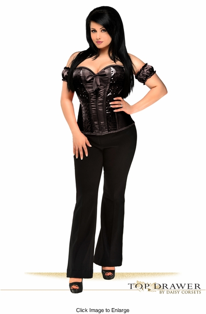 Top Drawer Steel Boned Molded Cup Black Sequin Corset Top
