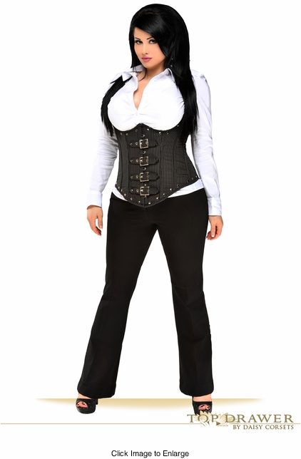 Top Drawer Steel Boned Pinstripe Corset Top With Buckles