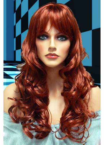 Tousled Bouncy Curl Wig Crystal in Auburn Red