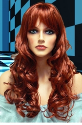 Tousled Bouncy Curl Wig in Auburn Red
