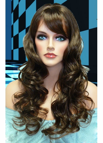 Tousled Bouncy Curl Wig in Chocolate Brown