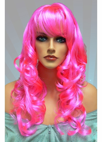 Tousled Bouncy Curl Wig in Hot Pink