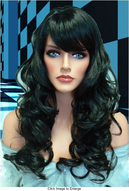 Tousled Bouncy Curl Wig in Jet Black