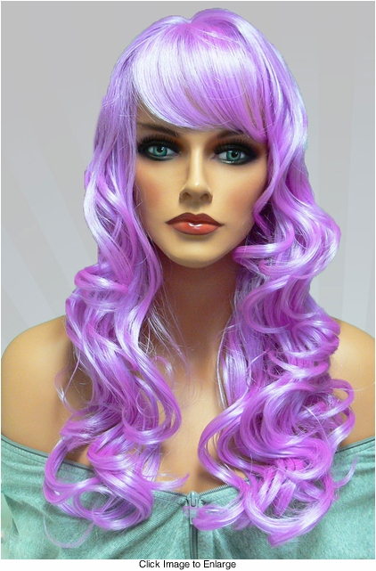 Tousled Bouncy Curl Wig in Lilac