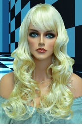 Tousled Bouncy Curl Wig in Pale Blonde