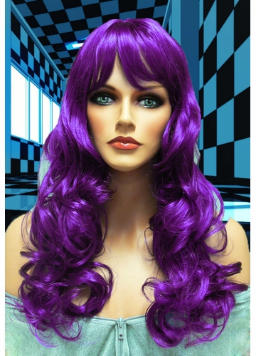 Tousled Bouncy Curl Wig in Purple