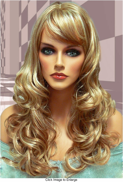 Tousled Bouncy Curl Wig in Strawberry Blonde Mix